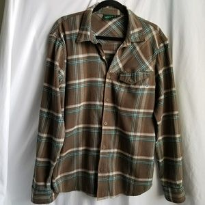 VANS button down shirt top long sleeves brown teal